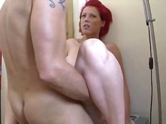 facial, lick, sex, cum swallowing, blowjob, jizz, cum, pov point of view, housewife, fucking, cumshot, redhead, german
