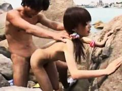 japanese, doggystyle, beach, skinny, sucking, small tits, hairy, blowjob, outdoor, fucked, slut