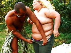 blonde, interracial, woman, fat, fucked, gets