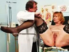 mature, gyn, granny, clinic, kinky, pussy stretching, bigtits, fetish, dirty, close-up, doctor, redhead, stretching