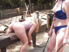 fetish, outdoors, blonde, lesbian, spanking