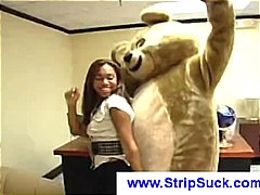 party, dude, cfnm, sucking, blowjob, gets, group, teddy, group sex, dancing, public, costume, strips, cock, sucked,