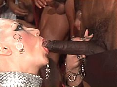 Bald girl in a group sex scene from 300 xxx gets everything fucked
