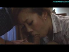 mond, milf, ouer, ma, japanees, bj, ouer, dame, bed