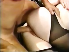 hardcore, doggystyle, dong, cumshot, vintage, flame, nylon, huge cock, classic, red head, facial, long