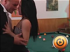 cock, teen, on, sexy, milf, pool, table, gets, hardcore, brunette