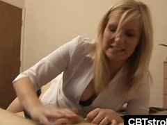 cfnm, pov, gives, femdom, cbt handjob, british, ffm threesome, handjob, guy, cbt, blowjob, blonde