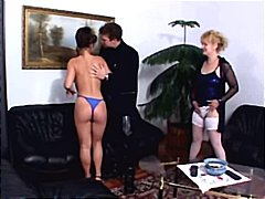 threesome, brunette, have, group sex, naughty, pounded, blonde, snatches, mature, hairy