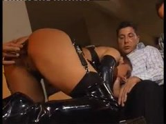 Hot latex clad chick in a gangbang
