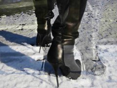 leather, high, on, teens, totally, heels, walking, high heels, babes, ice, french, boots