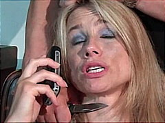 milf, high heels, blonde, dick, blouse, natural, hairy, blowjob, suck, burglar, facefuck,