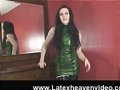 latex, masturbating, green, boots, orgasm, looks, black, pussy, thigh high, kinky, big tits, brunette, sexy, fetish, high