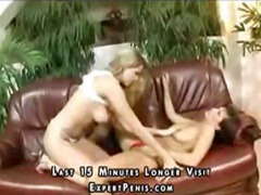 shaved, horny, couch, 3some, girl, lesbian, muff diving, leather, tits, fingering