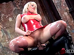 fetish, toys, latex, blowjob, couple, anal sex, shaved, blonde, cum shot, masturbation
