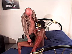 blowjob, ebony, couple, cum shot, anal sex, boots, interracial