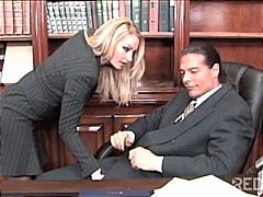 office, caucasian, couple, cum shot, stockings, swallow, tattoos, blowjob, blonde