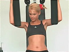 blond, realität, gym, babe, mager, fetish