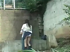 hidden, schoolgirl, asian, public, blowjob, fingering, panties, amateur, outdoor, homemade