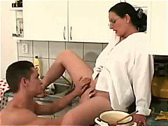 bigtits, milf, hairy-fetish, blowjob, kitchen, anal, cumshot, glasses