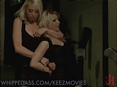 Two hot blondes kiss and one gets tied up for hot pussy play