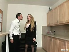 Big tit blonde secretary is punished  fucked hard by boss at work