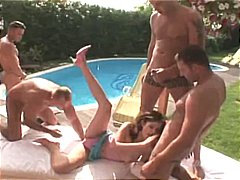 Brunette is surrounded by cocks