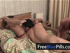 2 cuties girls and a guy threesome orgy