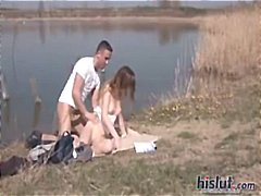 doggystyle, public, outdoor, teen, shaved-pussy, hardcore, teenager, blowjob, brunette