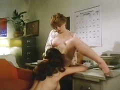 lesbian, big tits, brunette, beauty, blouse, natural, hairy, classic, retro, curly hair, pussy eating