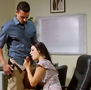 blouse, blowjob, office, footjob, high heels, upskirt, brunette