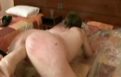Wife receives huge dildo and rough fisting from hubby