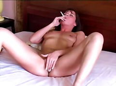 Naked amateur wife smokes then touches herself