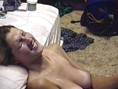 Hairy dude cums on her face