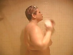 Big redhead in the shower