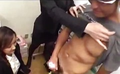 3 office ladies sucking guy cock using toy kissing his body while jerking off cum to palms in the office