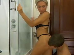 euro, boobs, busty, orgasm, blonde, shower, cumshot, bathroom, big-tits