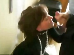 Hot milf sucks cock and gets mouthful