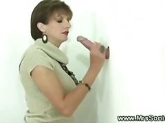 Cuckold watches wife suck gloryhole cock in lingerie