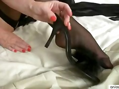 fingering, orgasm, lingerie, heels, masturbation, stockings, brunette, small-tits, solo, shaved-pussy,