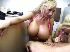 threesome, facial, blonde, bikini, blowjob, office, cum shot, masturbation, titfuck, big tits