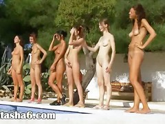 group sex, girl, nude, stripping, lesbian, outdoor, pool
