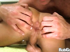 hand job, blowjob, huge dick, big dick, shaved, huge cock, bear, muscule, oil