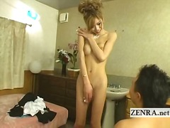 Japanese newhalf shemale is stripped nude with blowjob