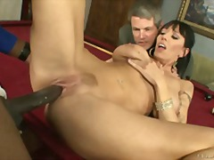 Big breasted milf fucks a big cock as her husband watches on