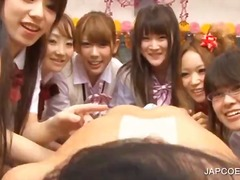 fetish, uniform, blowjob, japanese, cumshot, group sex, schoolgirl, asian, hardcore, handjob