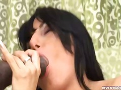 facial, shaved pussy, suck, sucking, black cock, pussy lips, pussy lick, cum inside, black, oral, stockings