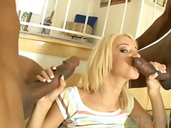 shaved, interracial, hardcore, mmf, natural tits, blonde, on top, 3some, big cock