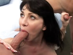 milf, brunette, natural tits, oral, housewife, pov, blowjob, ball licking, hardcore, facial