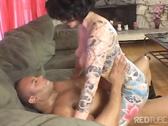 caucasian, tattoos, high heels, blowjob, masturbation, interracial, cum shot, milf, couple