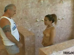bathroom, hardcore, asian, ball licking, blowjob, pool, oral, old young, old man
